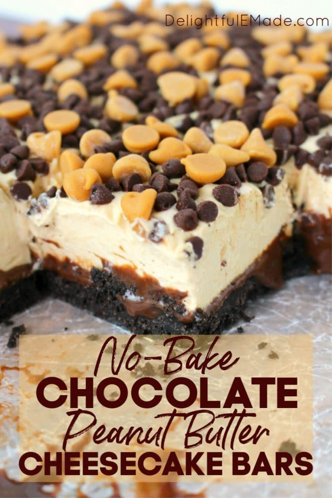 These Chocolate Peanut Butter Cheesecake Bars are a chocolate and peanut butter lovers dream! Made with an OREO crust, hot fudge, dreamy peanut butter mousse and topped with peanut butter chips, these no bake cheesecake bars are cool, creamy and completely delicious!