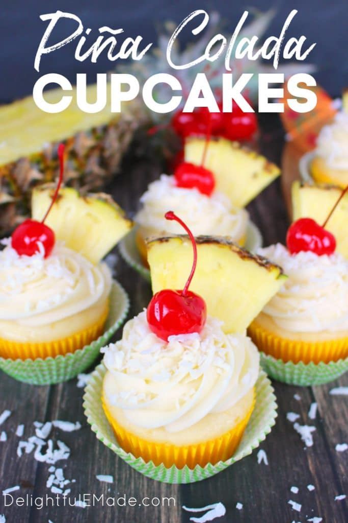 The classic Pina Colada cocktail turned into a cupcake!  These Pina Colada Cupcakes included a moist, delicious cake and topped with an amazing coconut cream cheese frosting.  These pineapple coconut cupcakes are perfect to celebrate any occasion!