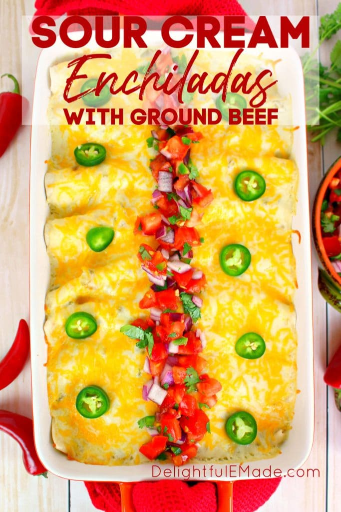 The best beef enchilada recipe on the internet!  Stuffed with seasoned ground beef and cheese, smothered with a delicious sour cream sauce, topped with more cheese and baked to perfection. These Beef Sour Cream Enchiladas are incredible!