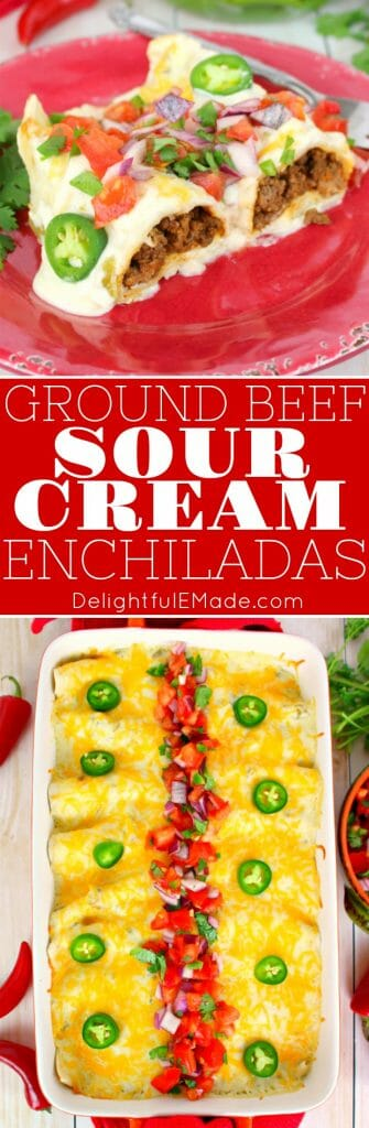 The only enchilada recipe you'll ever need!  Stuffed with seasoned ground beef and cheese, smothered with a delicious sour cream sauce, topped with more cheese and baked to perfection. These Sour Cream Enchiladas are incredible!