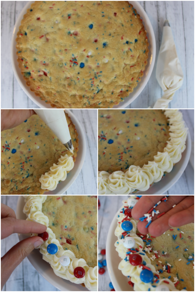 Step by step photos for how to decorate and red white and blue sugar cookie cake. Piping frosting on cookie cake, then decorating with red white and blue M&M's and sprinkles.