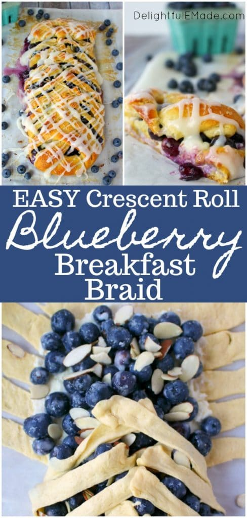 This super-simple Blueberry Breakfast Braid is made from simple, store-bought crescent sheets, along with fresh blueberries, almonds and cream cheese.  No one will ever know this Blueberry Crescent Braid didn't come from a fancy bakery!