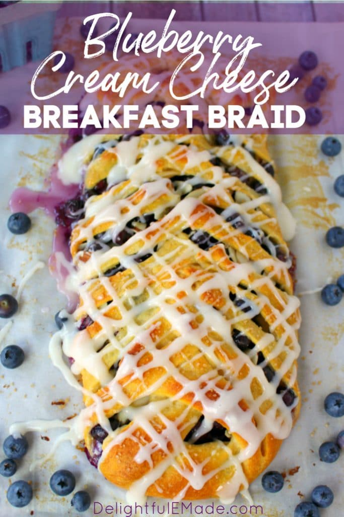 Meet your new favorite breakfast treat!  This super-simple Blueberry Breakfast Braid is made from simple, store-bought crescent sheets, along with fresh blueberries, almonds and cream cheese.  No one will ever know this Blueberry Crescent Braid didn't come from a fancy bakery!