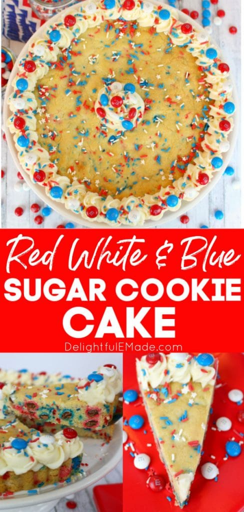 Red, white and blue sugar cookie cake. Decorated cake with sprinkles, M&M candies and slice of cookie cake on plate.