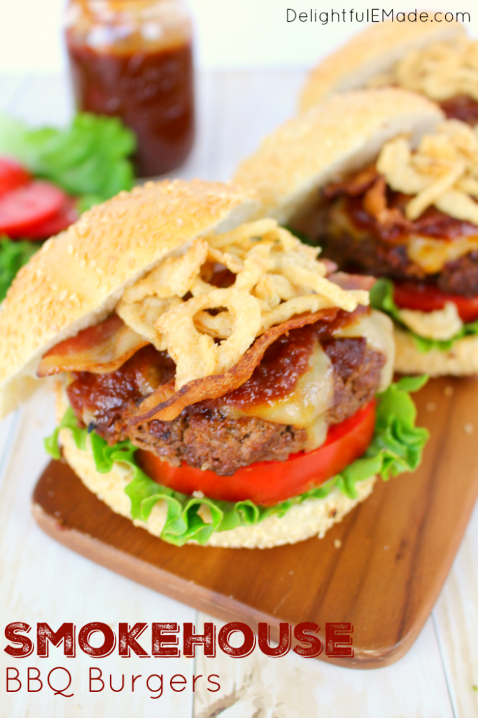 Fire up the grill, it's time for some amazing burgers!  My Smokehouse BBQ burgers are topped with smoked Gouda, bacon, fried onions, and an amazing Smokey Chipotle Barbecue Sauce.  Juicy and super flavorful, you'll be making these burgers all summer long!