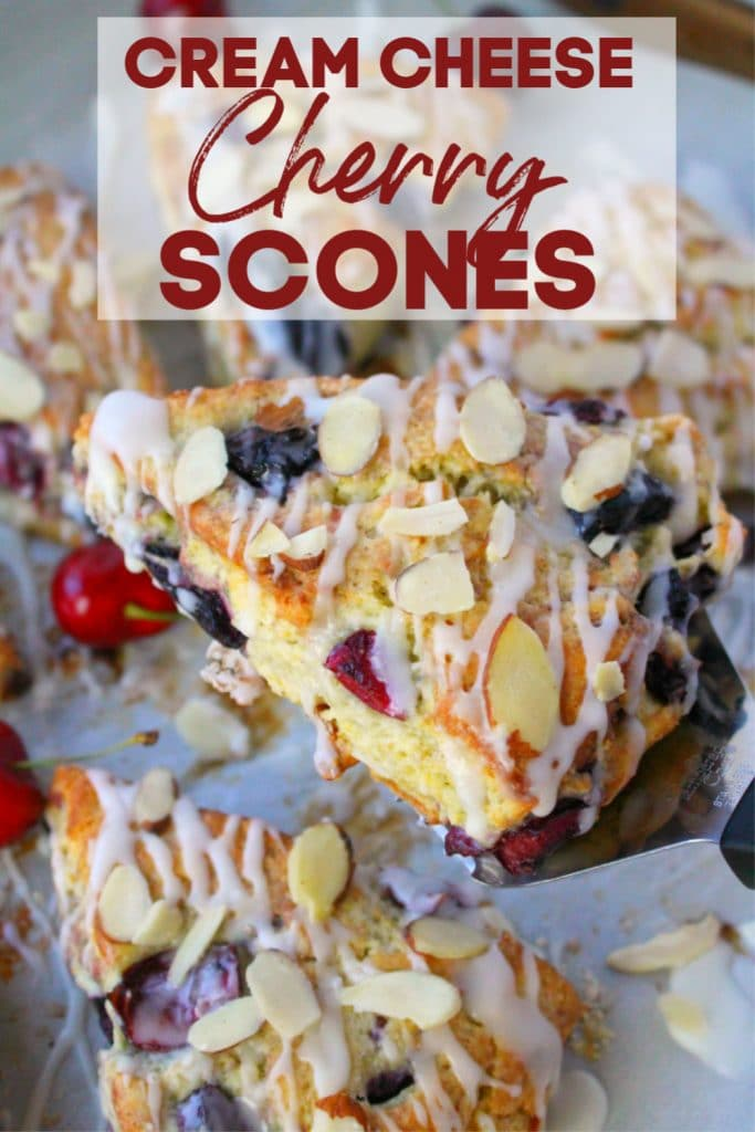 Stuffed with fresh cherries, sliced almonds, and drizzled with a cream cheese glaze, these flaky cherry scones are fantastic with your morning coffee!  Perfect for breakfast, this super-easy cherry scone recipe uses cream cheese to keep the dough wonderfully moist, tender, and completely delicious!