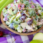 Healthy Broccoli Salad with Apples and Cherries