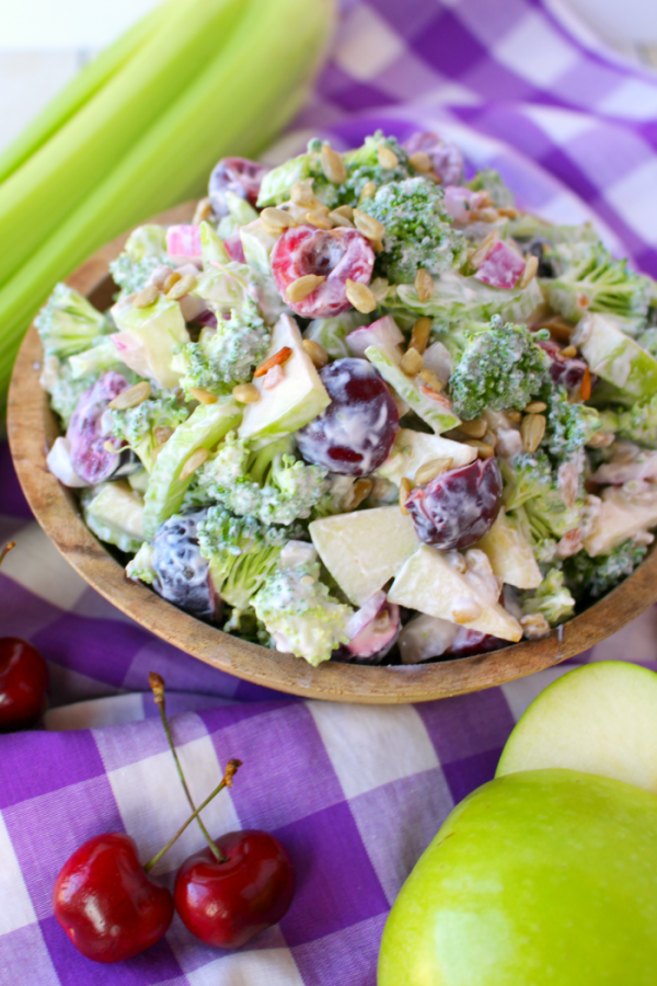 Creamy Broccoli Salad with Apples and CherriesDelightful E Made