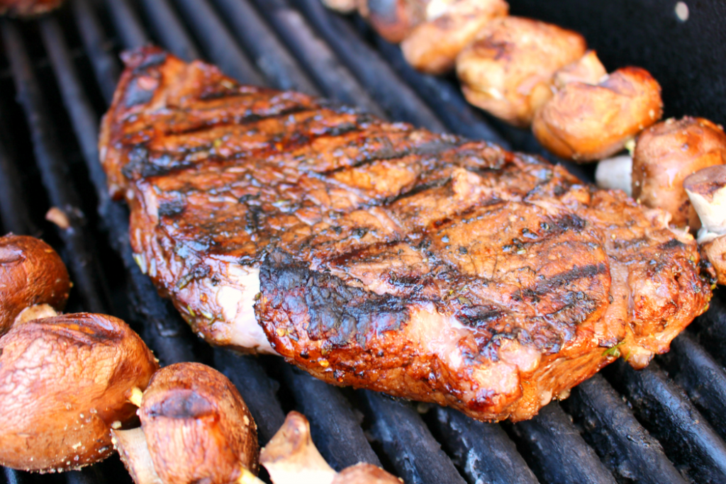Attention all carnivores - get ready to fire up the grill for these incredibly flavorful steaks!  This super simple Balsamic Rosemary marinade is perfect for t-bones, porterhouse, rib-eye, strip steak, flank steak, sirloin and even filet!  Paired with grilled mushrooms, these flavor-infused steaks will be a new summer favorite!