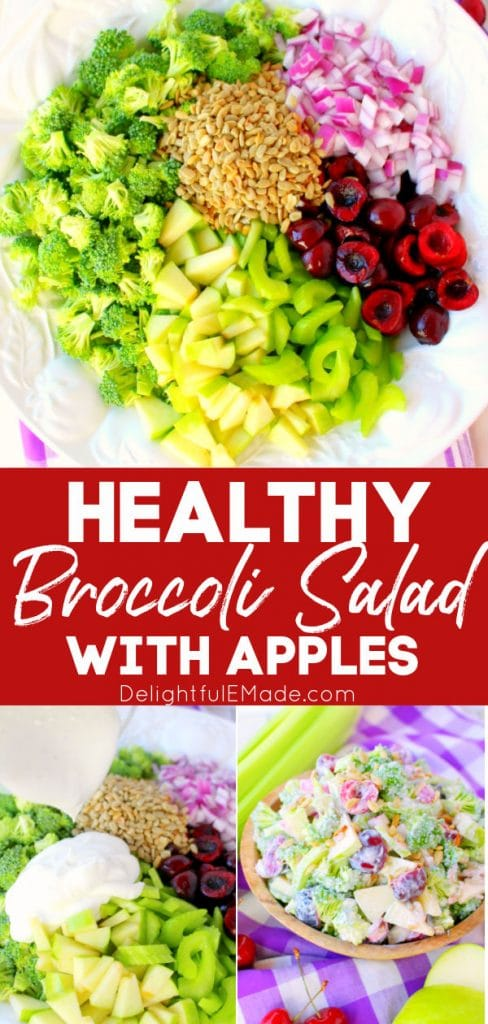 Healthy broccoli salad recipe, broccoli apple salad, in bowl with dressing poured over.