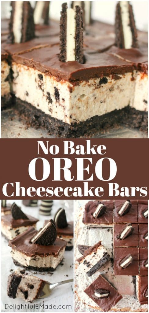 The ultimate dessert for anyone that loves OREO cookies! These no bake OREO cheesecake bars offer a thick OREO crust, creamy OREO cheesecake filling, and topped with a thick, delicious layer of chocolate. This no bake OREO Cheesecake recipe is perfect for just about any occasion!