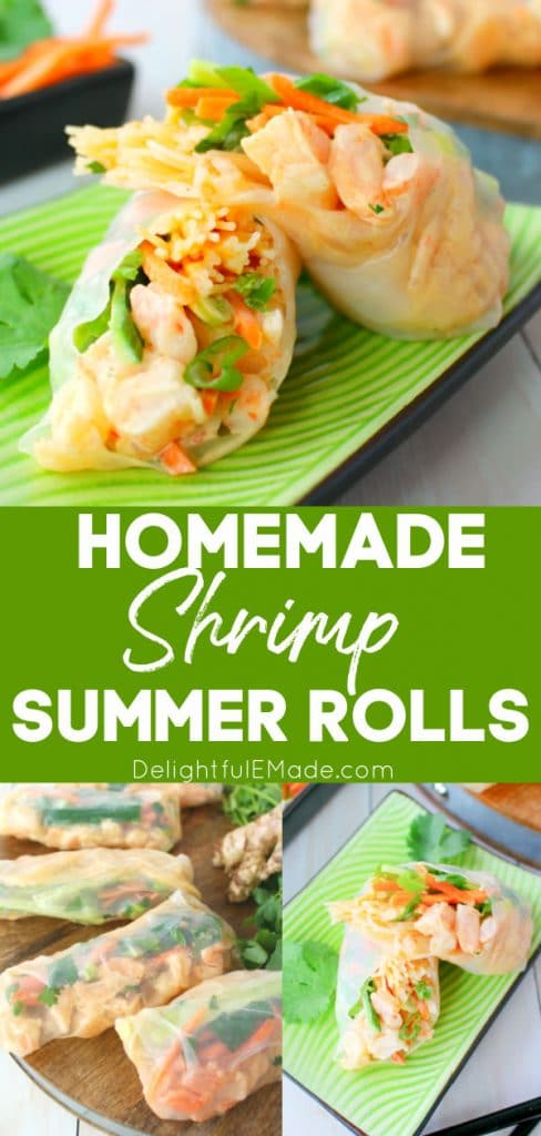 Photo collage of homemade shrimp summer rolls, once sliced in half, others whole wraps.