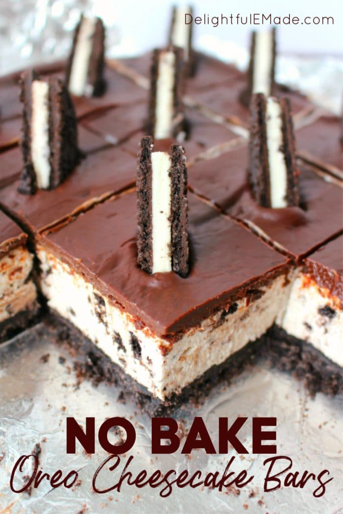 These no bake OREO cheesecake bars offer a thick OREO crust, creamy OREO cheesecake filling, and topped with a thick, delicious layer of chocolate.  This no bake OREO Cheesecake recipe is perfect for just about any occasion!
