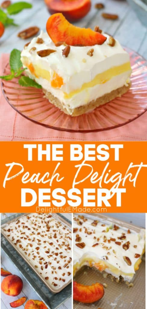 Peach delight dessert plated and in a cake pan. Sliced topped with a fresh peach slice and chopped pecans.