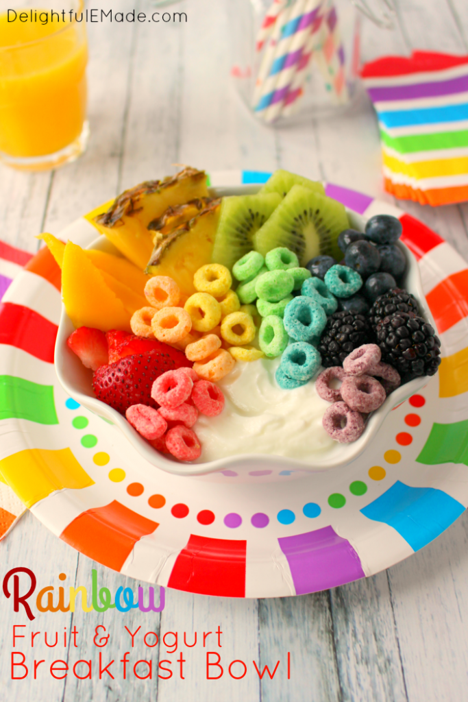 An amazing breakfast, perfect to get the school day off to a great start! Loaded with fresh, rainbow colored fruit, vanilla Greek yogurt and topped off with Kellogg's Fruit Loops™! The ultimate way to surprise your kids on the first day of school, their birthday or for a fun family breakfast!
