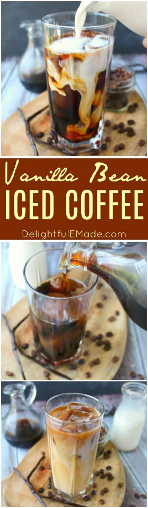Forget the morning rush at your local coffee shop - make your favorite vanilla iced coffee drink right at home!  My Vanilla Bean Iced Coffee is made with a super-simple vanilla bean syrup, as well as cold brew coffee, and half and half.  An amazing drink to start your day!