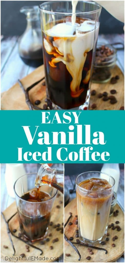 make your favorite vanilla iced coffee drink right at home! My Vanilla Bean Iced Coffee is made with a simple vanilla bean syrup, cold brew coffee, and half and half. An amazing drink to start your day!