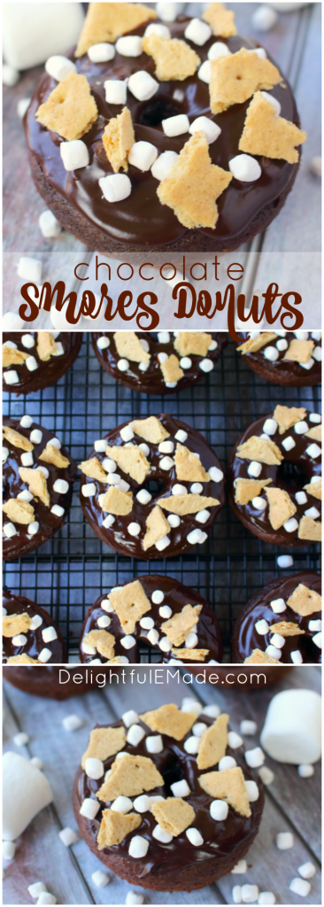 The classic campfire snack turned into a breakfast treat! These delicious Chocolate S'mores Donuts are simply baked in a donut pan, topped with a chocolate ganache frosting and sprinkled with marshmallows and graham crackers! These will be a new favorite anytime you're in the mood for something sweet!