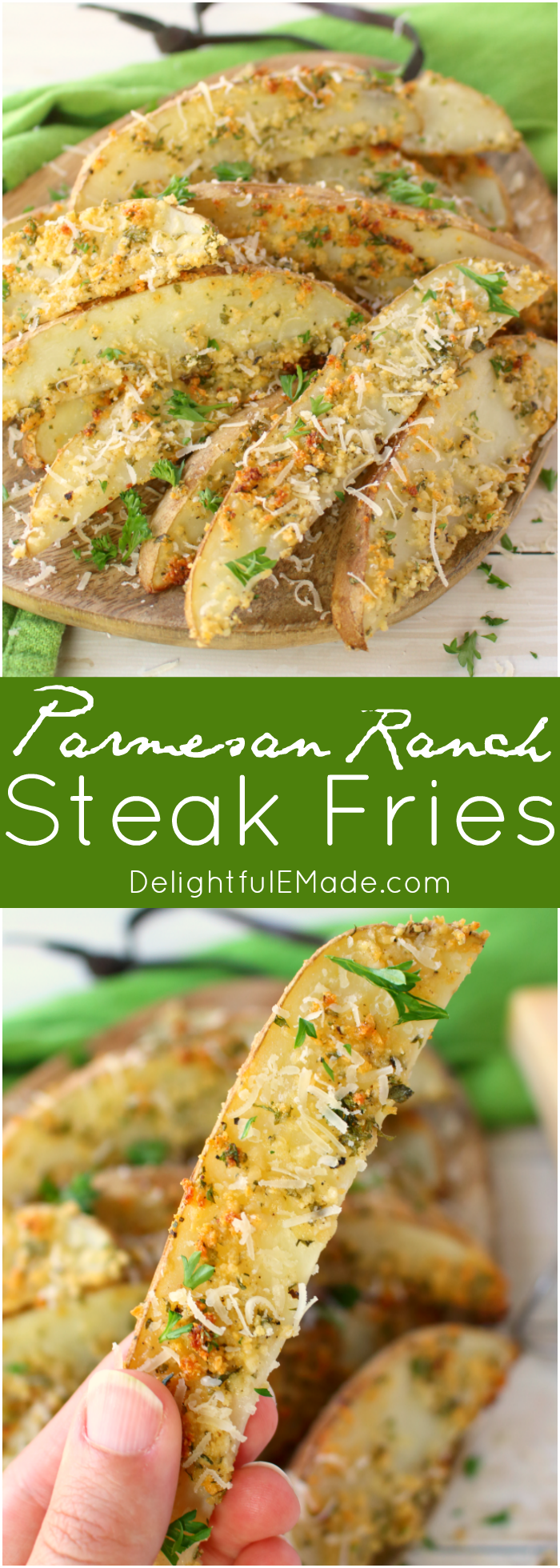 These crispy, oven-baked fries will be a new favorite side with everyone in your family!  Russet potato wedges are coated in Parmesan cheese, ranch seasoning, and a bit of parsley, they come together in moments, and bake to perfection!  Fantastic with anything from sloppy joes to steak and everything in between!
