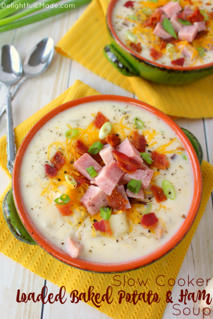 The best potato soup you'll ever have! Made in the slow cooker, this super-simple soup recipe is great for busy weeknights. Loaded with big chunks of ham, potatoes, and topped with lots of cheese, bacon and onions, this comfort food is a great for anyone who loves a hearty, delicious bowl of soup!