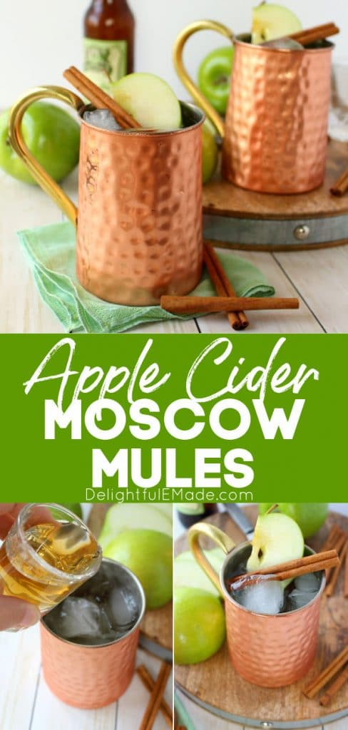 Apple Cider Moscow Mules garnished with apple slices and cinnamon sticks.