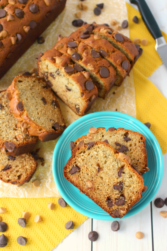Your new favorite banana bread recipe is here! This flavorful, delicious banana bread is loaded with chocolate chips, creamy peanut butter, and peanut butter chips, making an amazing breakfast treat or afternoon snack. Starbucks banana loaf has got nothin' on this!