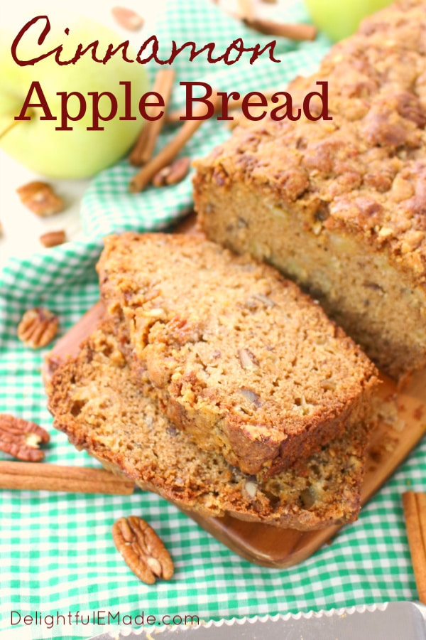 The ultimate cinnamon apple bread recipe!  Cinnamon, pecans, and lots of fresh apples are baked together making a fantastic treat with your morning coffee or a delicious afternoon snack.  An amazing apple bread recipe perfect for fall baking!