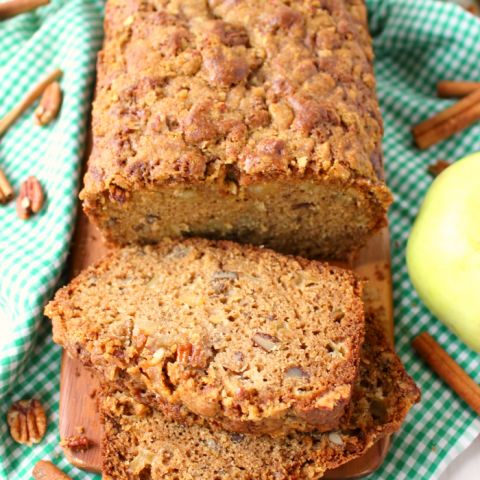 The ultimate apple quick bread recipe! Cinnamon, pecans, and lots of fresh apples are baked together making a fantastic treat with your morning coffee or a delicious afternoon snack. An amazing apple recipe perfect for fall baking!