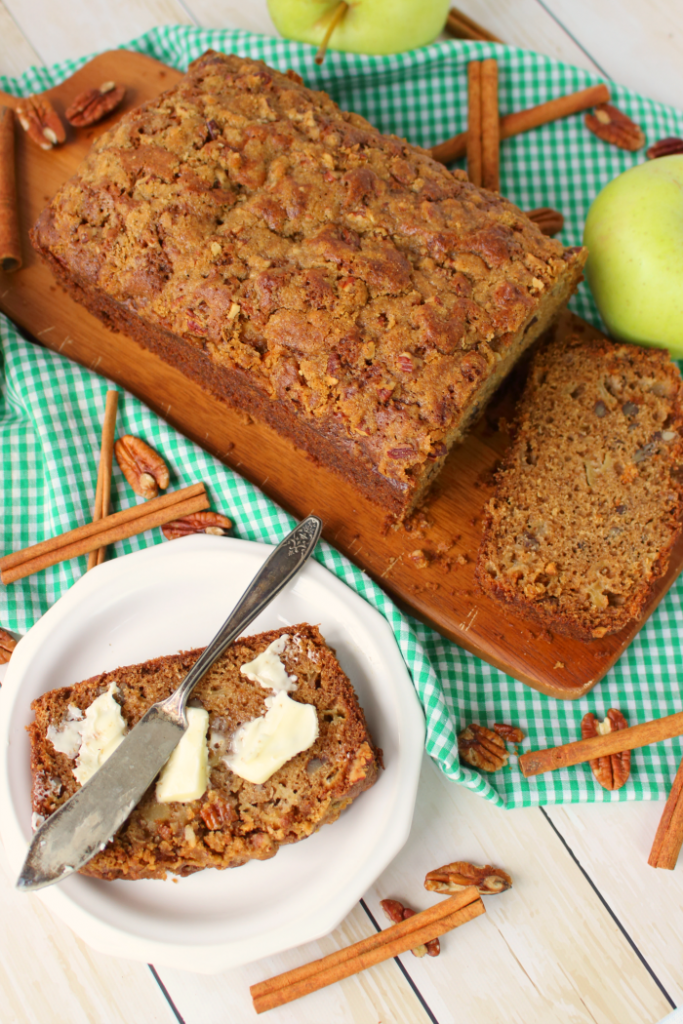 The ultimate cinnamon apple bread recipe!  Cinnamon, pecans, and lots of fresh apples are baked together making a fantastic treat with your morning coffee or a delicious afternoon snack.  An amazing apple crumble bread perfect for fall baking!