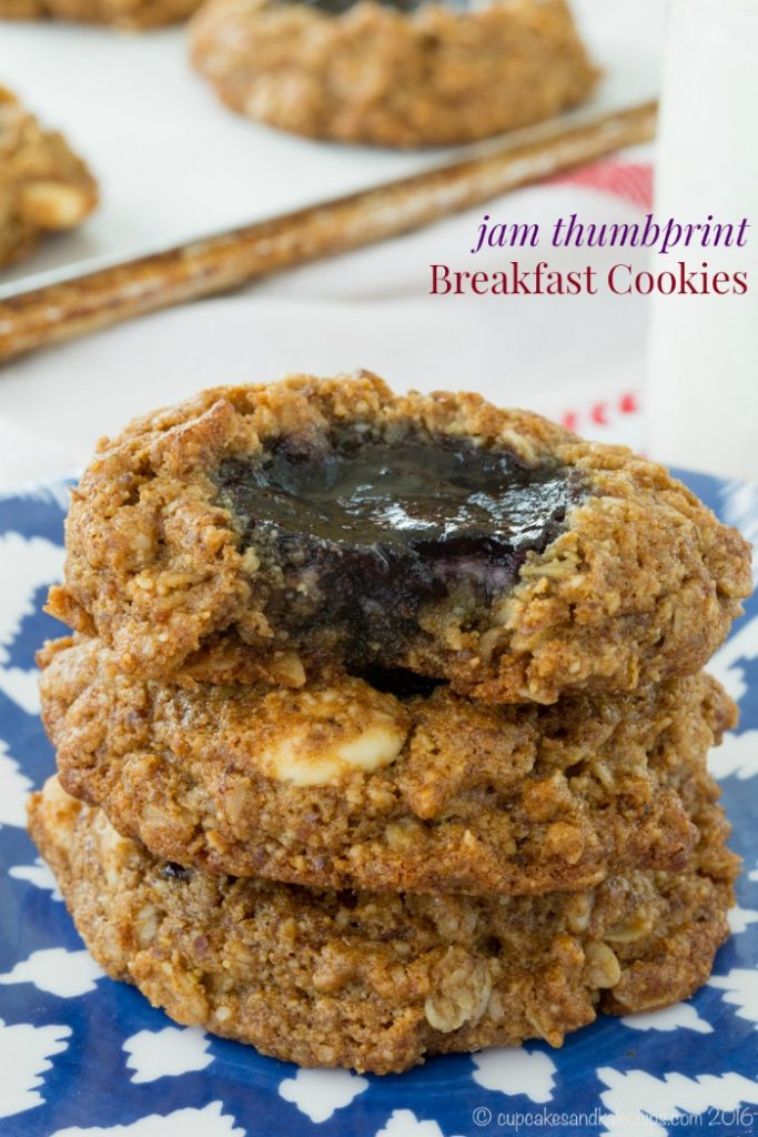 Jam Thumbprint Breakfast Cookies by Cupcakes and Kale Chips