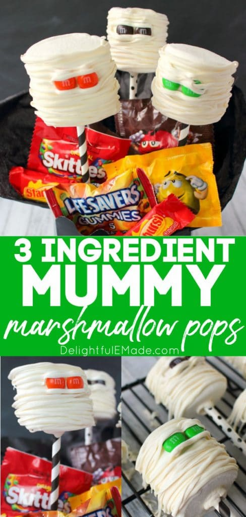 Mummy Marshmallow pops - marshmallows decorated with M&M's and white candy melt drizzled to look like a mummy head.