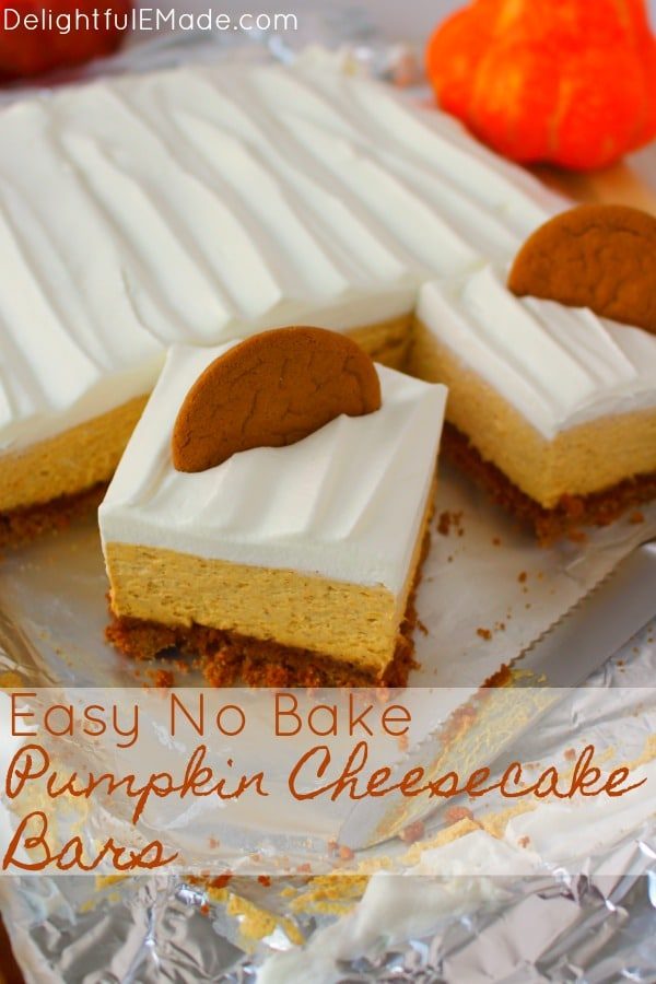 Let me introduce you to your new favorite no bake pumpkin cheesecake recipe!  Made with a Gingersnap Cookie Crust, whipped topping and a few other goodies, these Pumpkin Cheesecake Bars are simple enough for a casual fall celebration and decadent enough for Thanksgiving dinner!