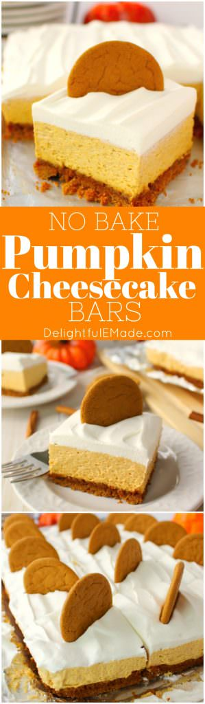 Let me introduce you to your new favorite fall dessert!  Made with a Gingersnap Cookie Crust, whipped topping and a few other goodies, these Pumpkin Cheesecake Bars are simple enough for a casual fall celebration and decadent enough for Thanksgiving dinner!