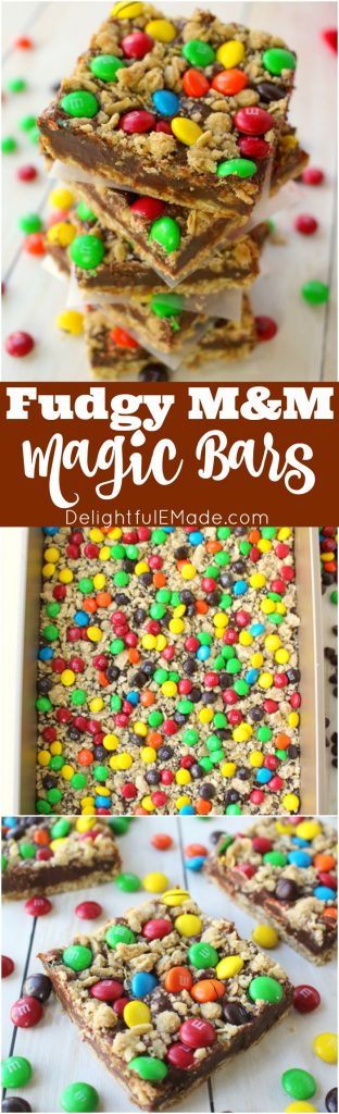 If you love M&M's, you're gonna go crazy for these cookie bars! An oatmeal crust, with a thick, delicious fudge center and topped with oatmeal crumble and loads of M&M's make these bars incredible! The ultimate chocolate treat!