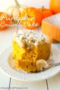 Meet your new favorite crumb cake recipe! This incredibly moist, velvety pumpkin crumb cake has all your favorite fall flavors topped with an amazing cinnamon crumble. It's the perfectbreakfast treat to serve on Thanksgiving morning, or simply enjoy with your pumpkin spice latte!