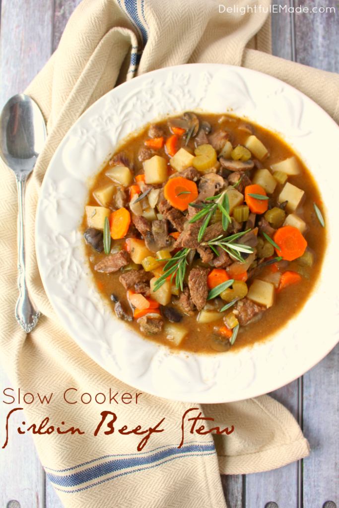 This easy slow cooker beef stew recipe is a delicious dinner option for any night of the week. Made with tender, delicious sirloin, along with big chunks of carrots, celery, potatoes and mushrooms its the ultimate comfort food!