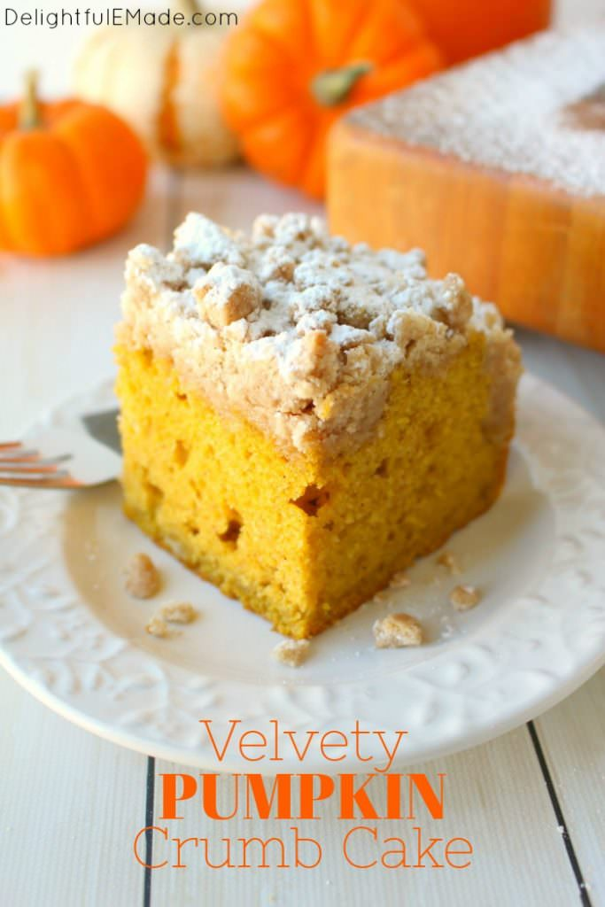 This incredibly moist, velvety pumpkin crumb cake has all your favorite fall flavors topped with an amazing cinnamon crumble.  It's the perfect breakfast treat to serve on Thanksgiving morning, or simply enjoy with your pumpkin spice latte!