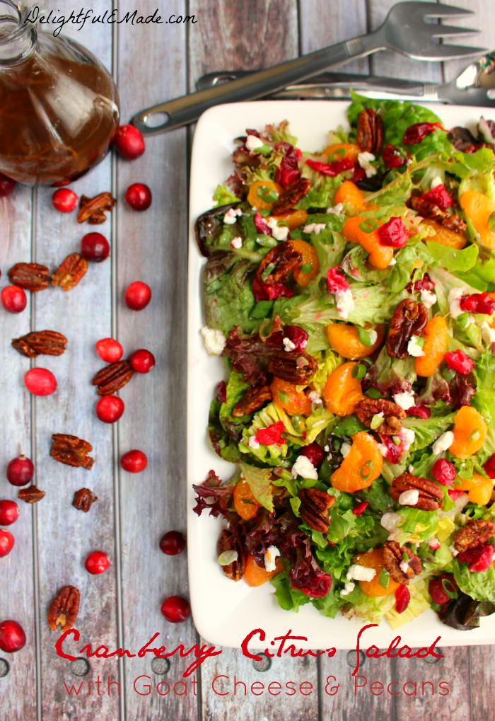 The perfect side dish for your holiday dinner, this Fresh Cranberry Salad recipe is flavorful and delicious!  Mandarin oranges, fresh cranberries, goat cheese crumbles and pecans make this Cranberry Citrus Salad incredible.