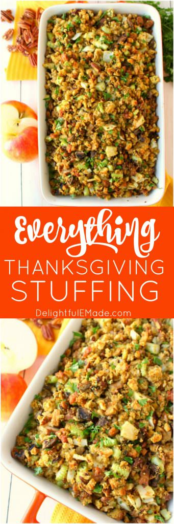 This stuffing recipe will be an instant Thanksgiving dinner favorite with everyone at the table!  Loaded with apples, sausage, mushrooms, pecans and more, this dressing is the ultimate side dish for your holiday meal! Can be made in the oven or slow cooker!