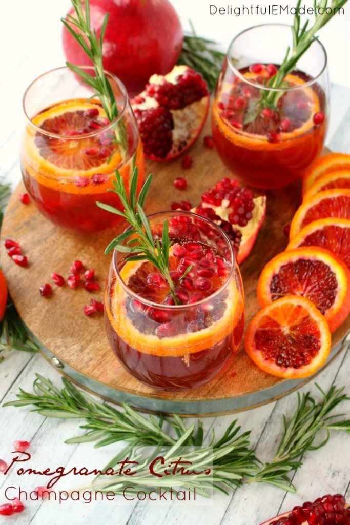 Pomegranate Citrus Champagne Cocktail - Delightful E Made