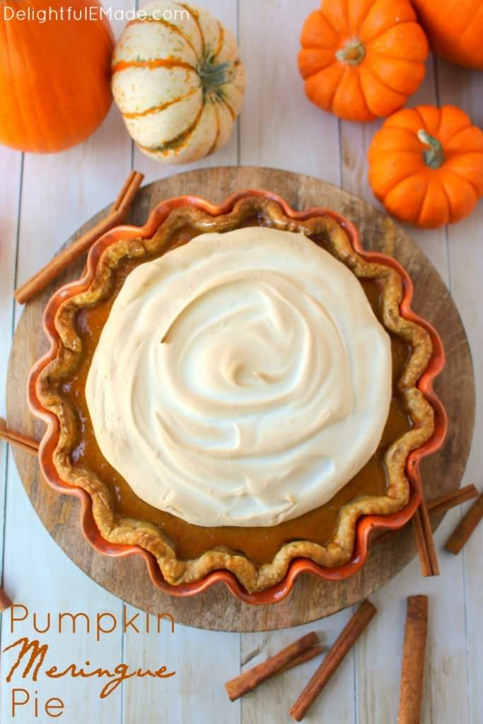 A delicious twist on the classic pumpkin pie! Dazzle your dinner guests with this wonderfully simple pie recipe that is topped with a silky, delicious meringue. Easy enough to make for your holiday meal, and fancy enough for a formal dinner, this pie is the ultimate Thanksgiving dessert!