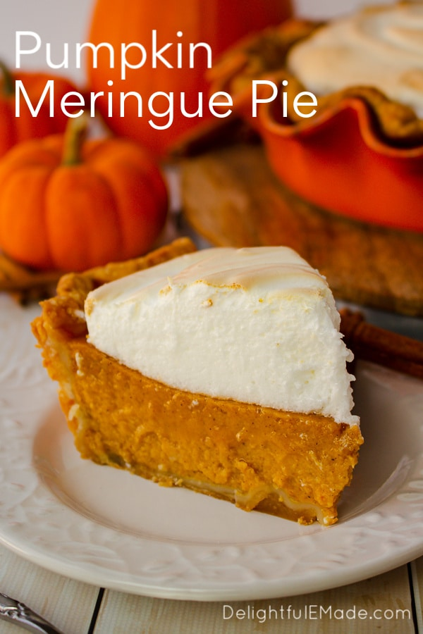 A delicious twist on the classic pumpkin pie, this his wonderfully easy pumpkin pie recipe is topped with a silky, delicious meringue.  Easy enough to make for a simple holiday meal, and fancy enough for a formal dinner, this Pumpkin Meringue Pie is the ultimate Thanksgiving dessert!