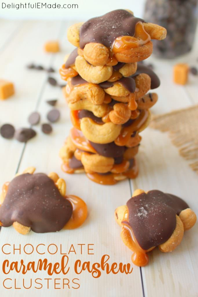 Salty and sweet come together for the most amazing gooey treat! These Chocolate Caramel Cashew Clusters are simply made with just four ingredients, making them the perfect Christmas candy! Fantastic for gifting, cookie exchanges, holiday parties or anytime you need to satisfy your sweet tooth!