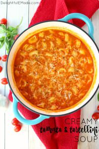 This fantastic tomato soup recipe has it all! Creamy, delicious tomatoes simmered together with Parmesan cheese, tender tortellini and topped with fresh basil, this soup is fantastic for the holidays or anytime you're looking to warm up on a cold night!