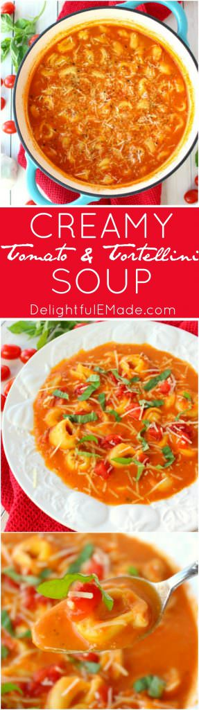 This fantastic tomato soup recipe has it all! Creamy, delicious tomatoes are simmered together with Parmesan cheese, tender tortellini and topped with fresh basil. This soup is a fantastic Christmas Eve dish or wonderful anytime you're looking to warm up on a cold night!