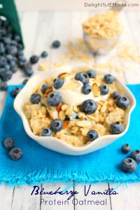 Blueberry Vanilla Protein Oatmeal by Delightful E Made