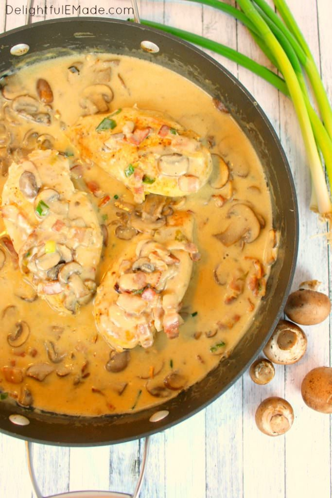 Cream Skillet Chicken with Mushrooms and Bacon - 2016 Top Ten Reader Favorite Recipes by Delightful E Made