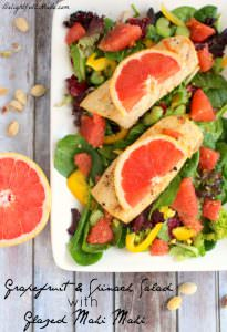 Grapefruit & Spinach Salad with Mahi Mahi by Delightful E Made