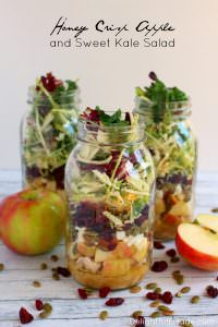 How about a healthy, easy delicious lunch idea? My Honey Crisp Apple & Sweet Kale Salad with Apple Cider Vinaigrette is the perfect lunch solution! Assembled in mason jars, these salads stay fresh and crisp for the perfect make-head lunch!