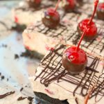 Chocolate Covered Cherry No Bake Cheesecake Bars